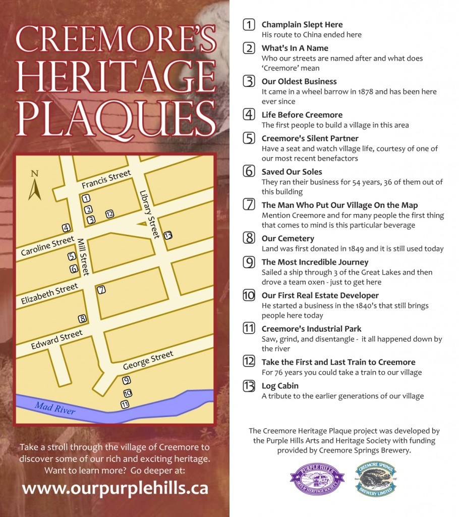 Creemore's Heritage Plaques: A walking tour